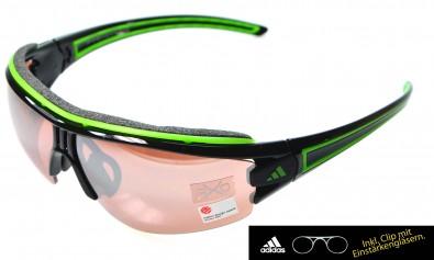 adidas L a167 6050 Evil eye halfrim pro inkl. Sehstärkenclip shiny black green
