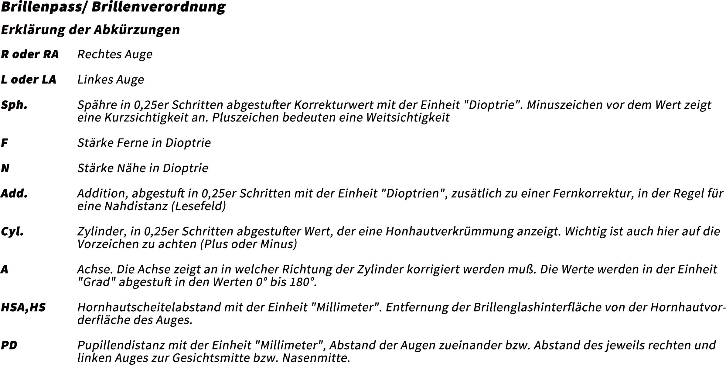 Brillenpass Infotext